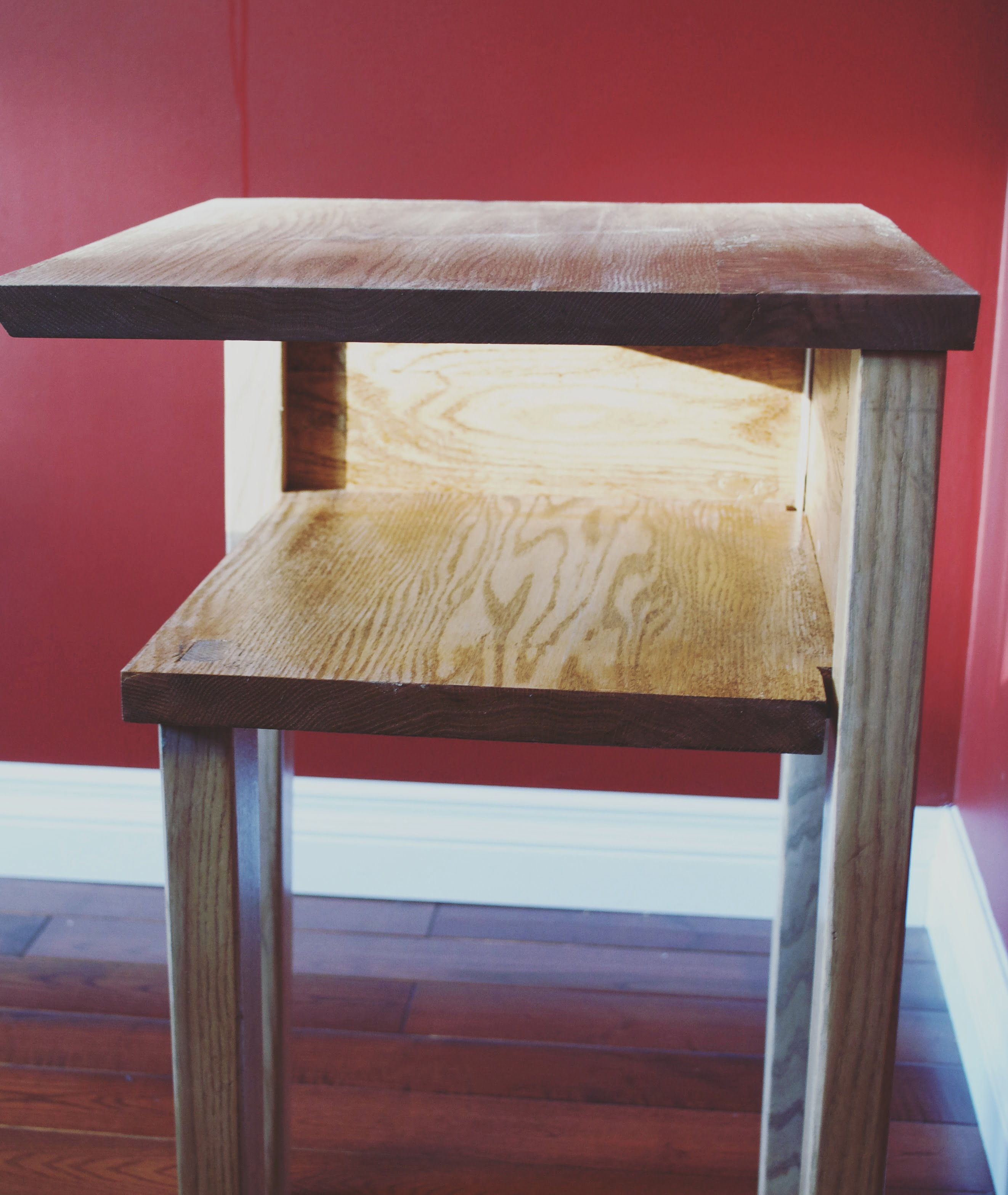 Open Side Tables Red Oak